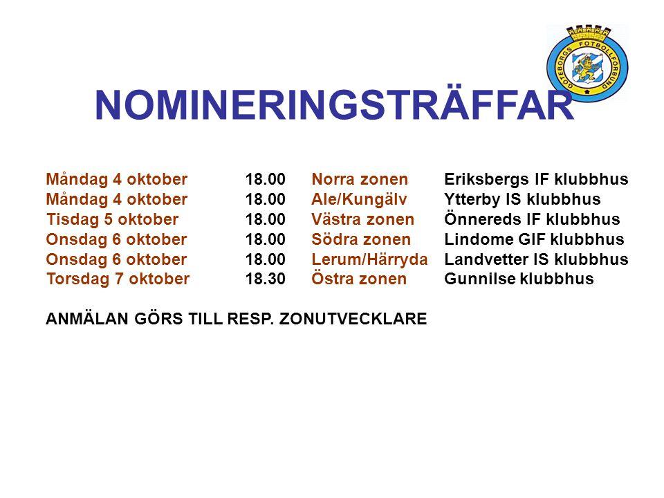NOMINERINGSTRÄFFAR Måndag 4 oktober 18.00 Norra zonen Eriksbergs IF klubbhus. Måndag 4 oktober 18.00 Ale/Kungälv Ytterby IS klubbhus.