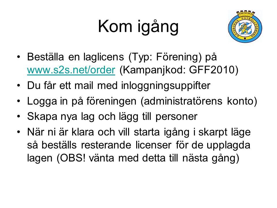 Kom igång Beställa en laglicens (Typ: Förening) på www.s2s.net/order (Kampanjkod: GFF2010) Du får ett mail med inloggningsuppifter.