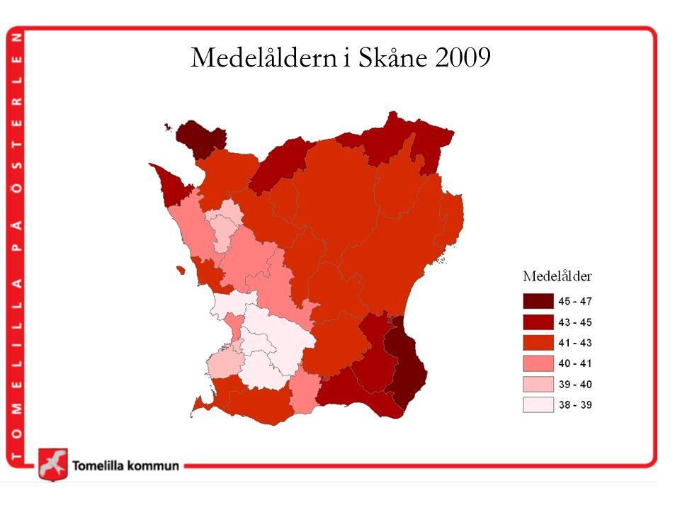 Medelåldern i Skåne 2009