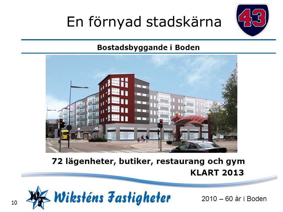 72 lägenheter, butiker, restaurang och gym