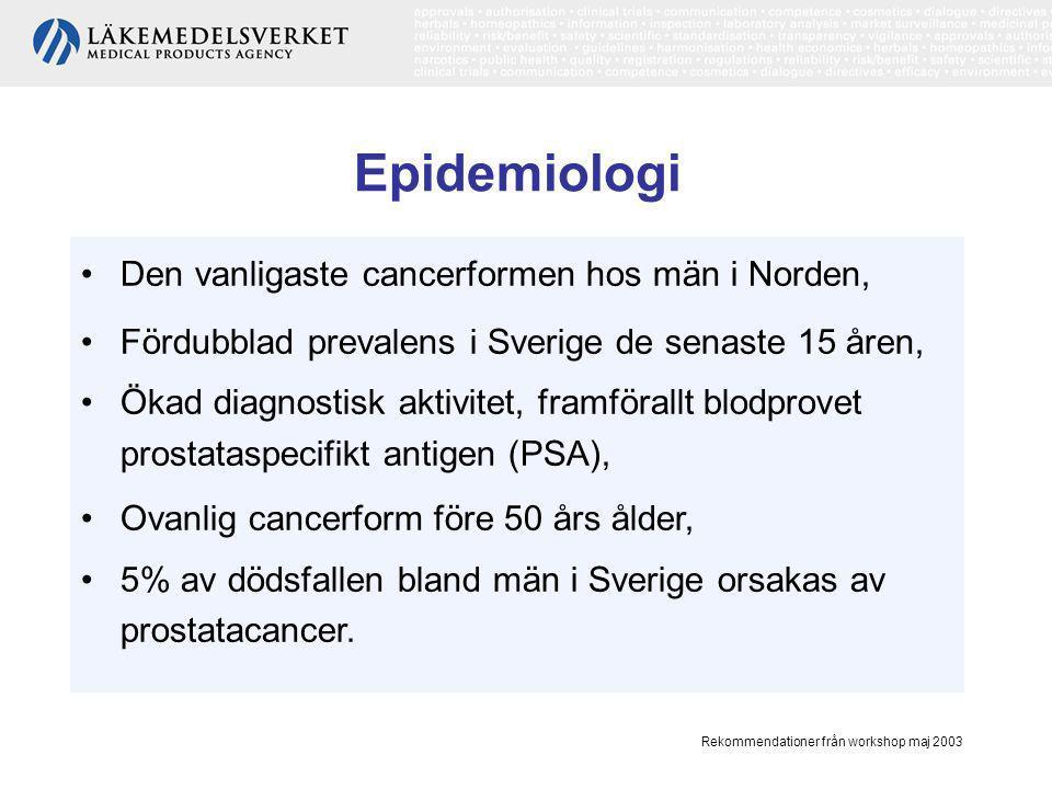 Epidemiologi Den vanligaste cancerformen hos män i Norden,