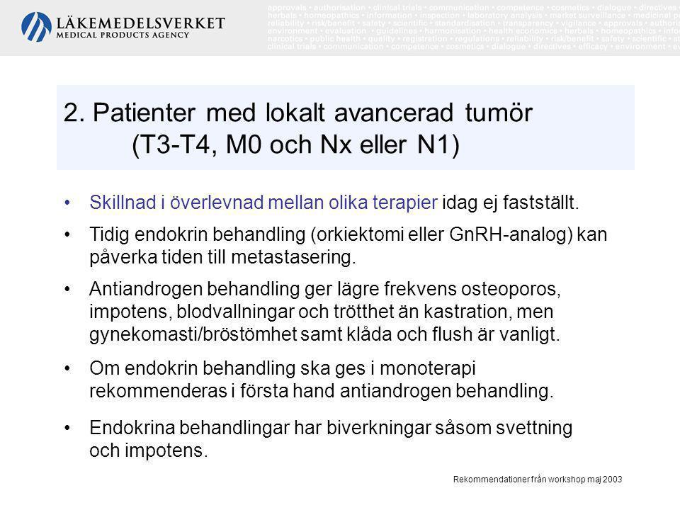 2. Patienter med lokalt avancerad tumör (T3-T4, M0 och Nx eller N1)
