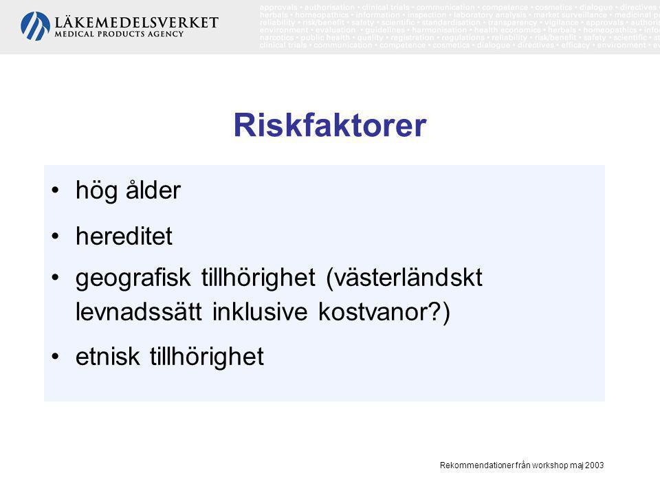 Riskfaktorer hög ålder hereditet
