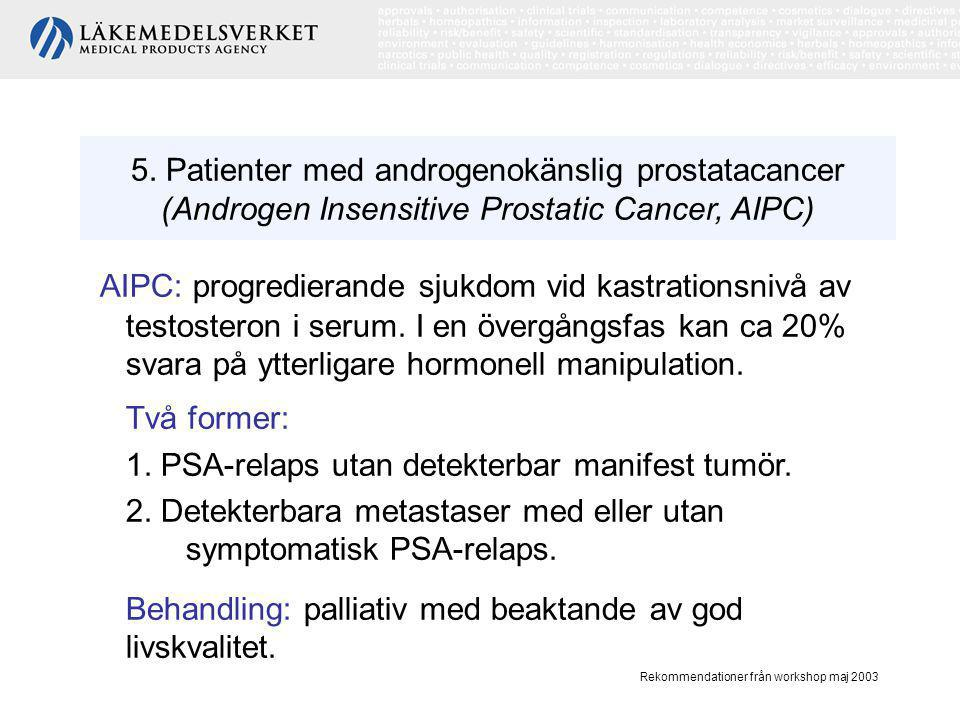 5. Patienter med androgenokänslig prostatacancer (Androgen Insensitive Prostatic Cancer, AIPC)