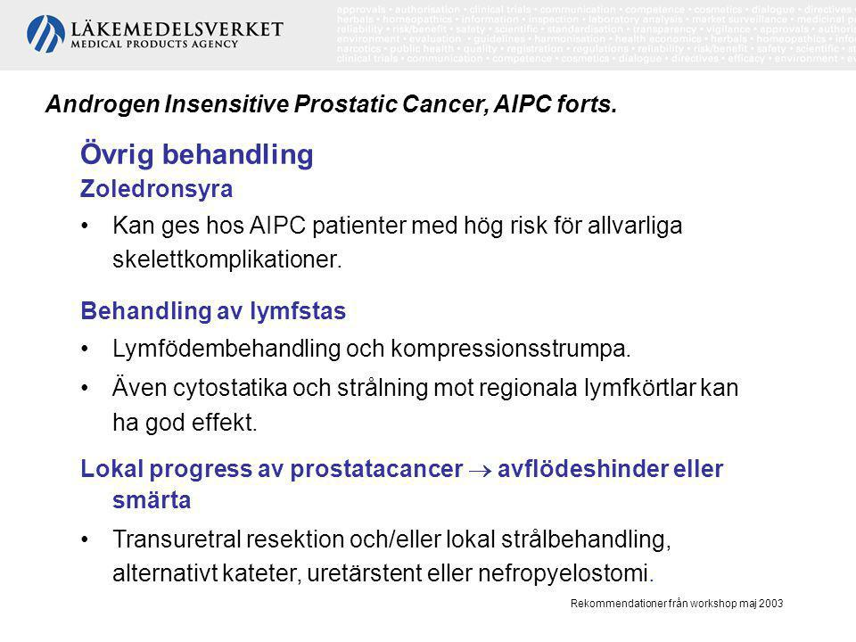Övrig behandling Androgen Insensitive Prostatic Cancer, AIPC forts.