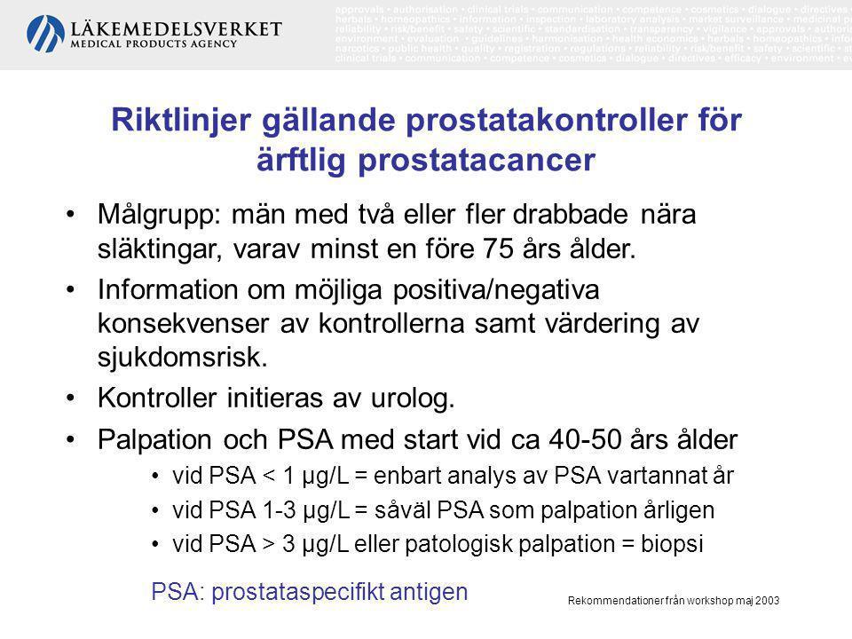 Riktlinjer gällande prostatakontroller för ärftlig prostatacancer