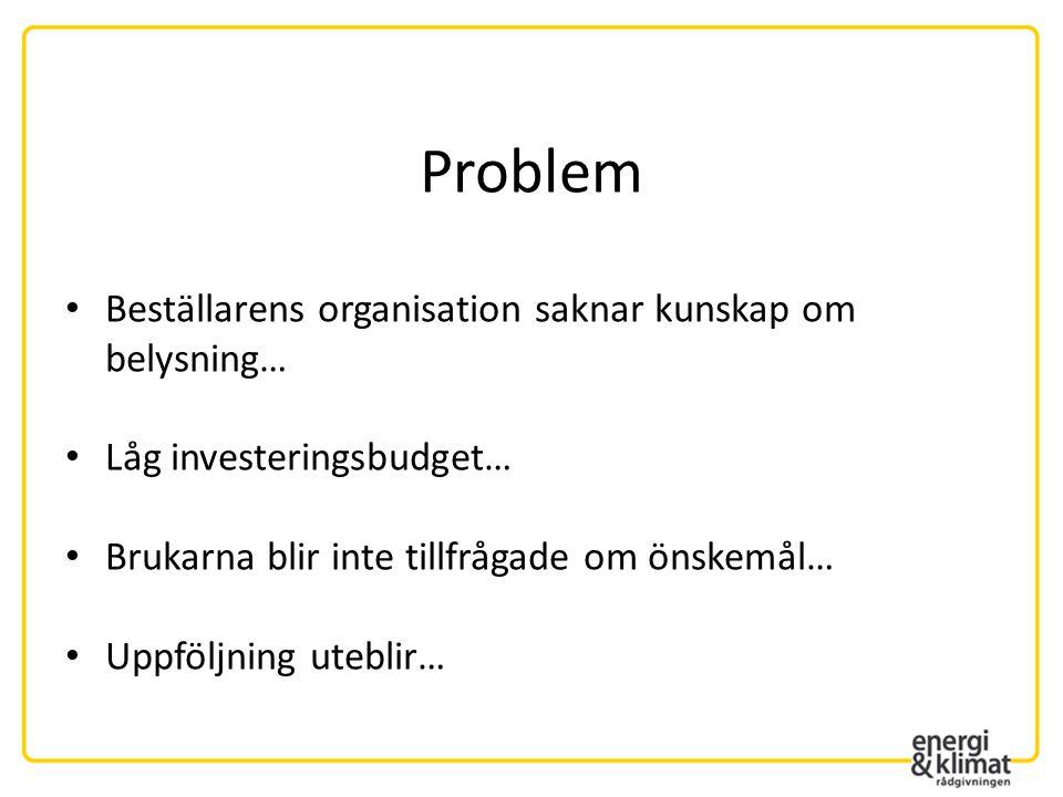 Problem Beställarens organisation saknar kunskap om belysning…