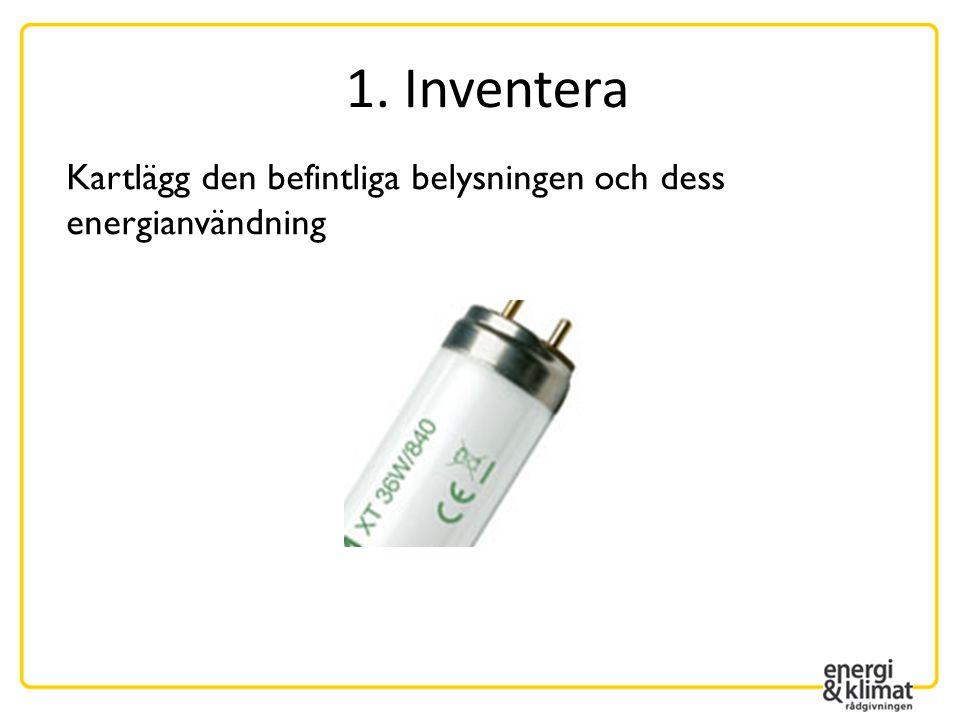 1. Inventera Kartlägg den befintliga belysningen och dess energianvändning. Kartlägg den befintliga belysningen och dess energianvändning.