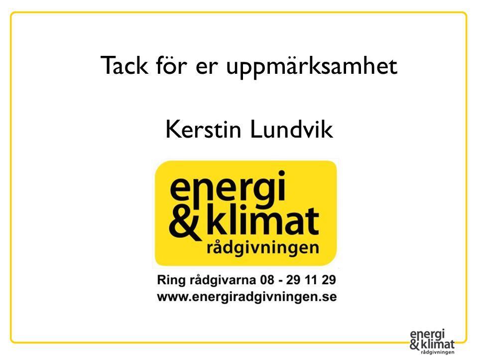 Tack för er uppmärksamhet Kerstin Lundvik