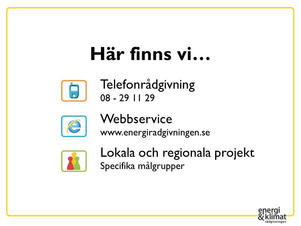 Här finns vi… Telefonrådgivning 08 - 29 11 29 Webbservice