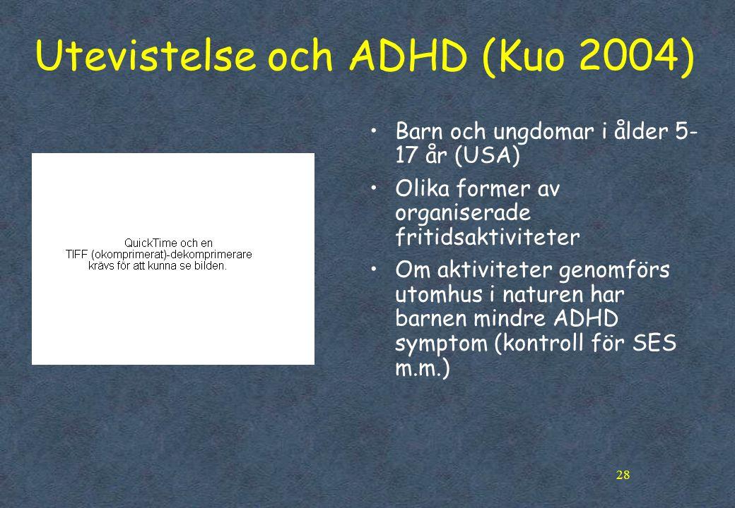 Utevistelse och ADHD (Kuo 2004)