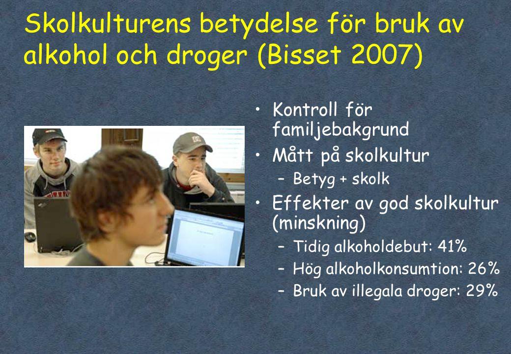 Skolkulturens betydelse för bruk av alkohol och droger (Bisset 2007)