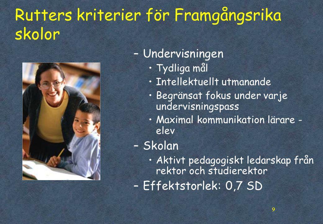 Rutters kriterier för Framgångsrika skolor