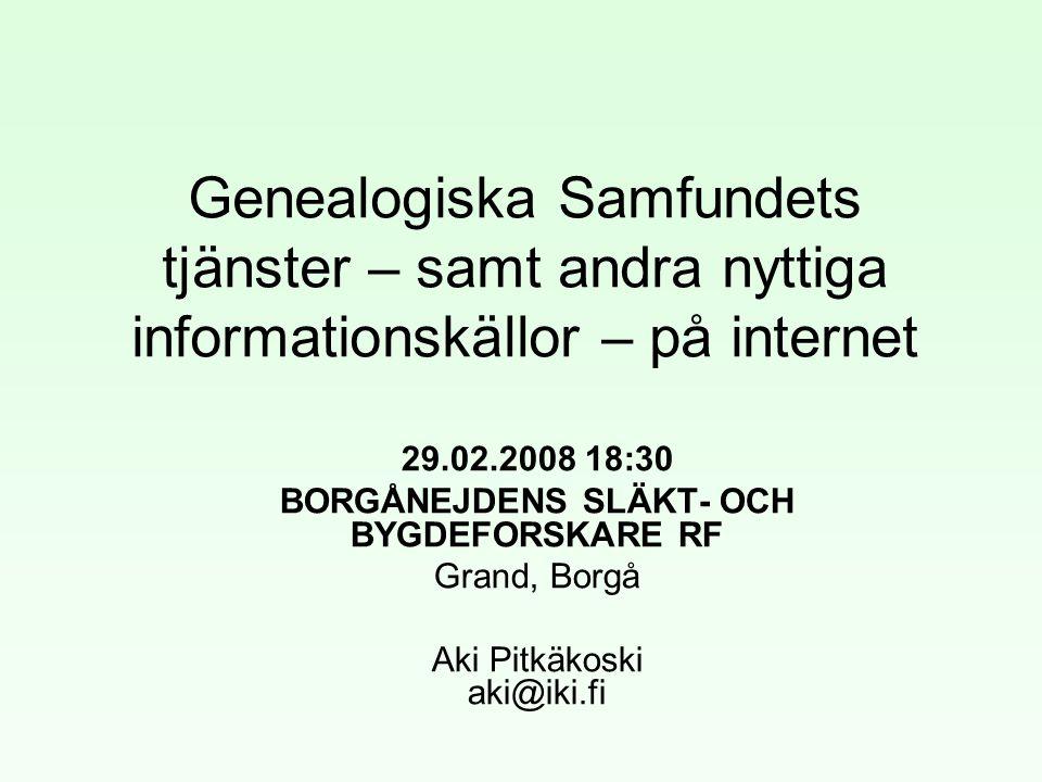 Genealogiska Samfundets tjänster – samt andra nyttiga informationskällor – på internet