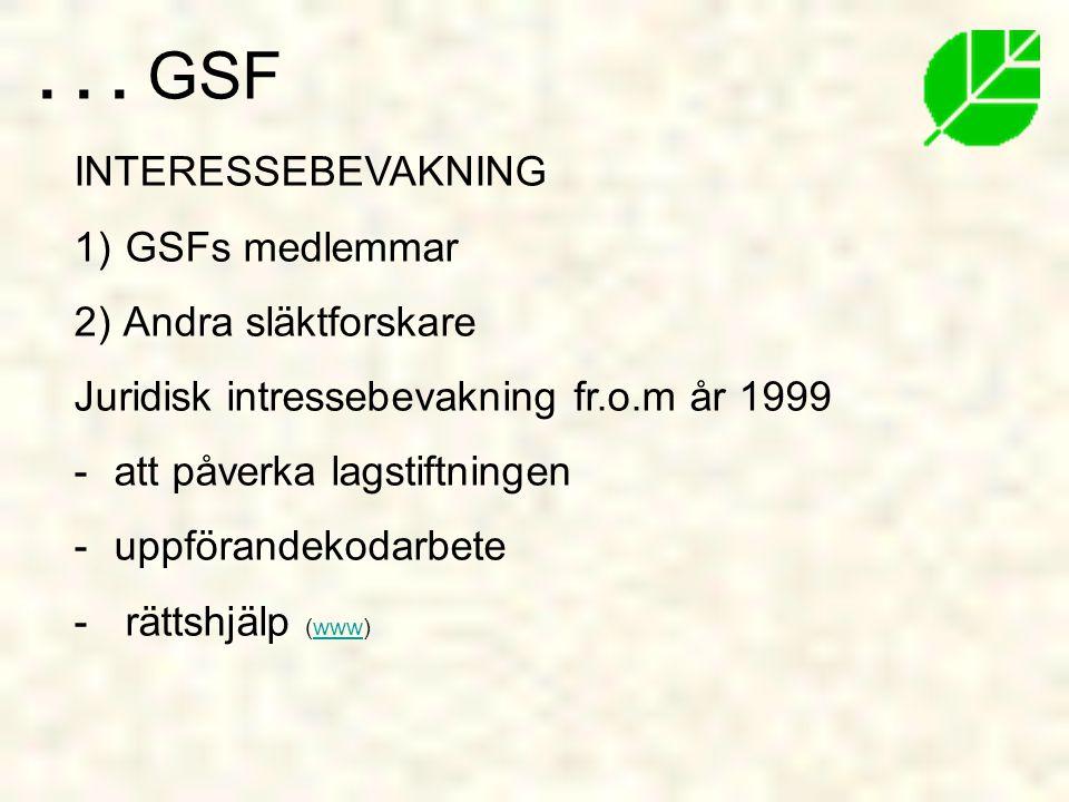 . . . GSF INTERESSEBEVAKNING GSFs medlemmar Andra släktforskare