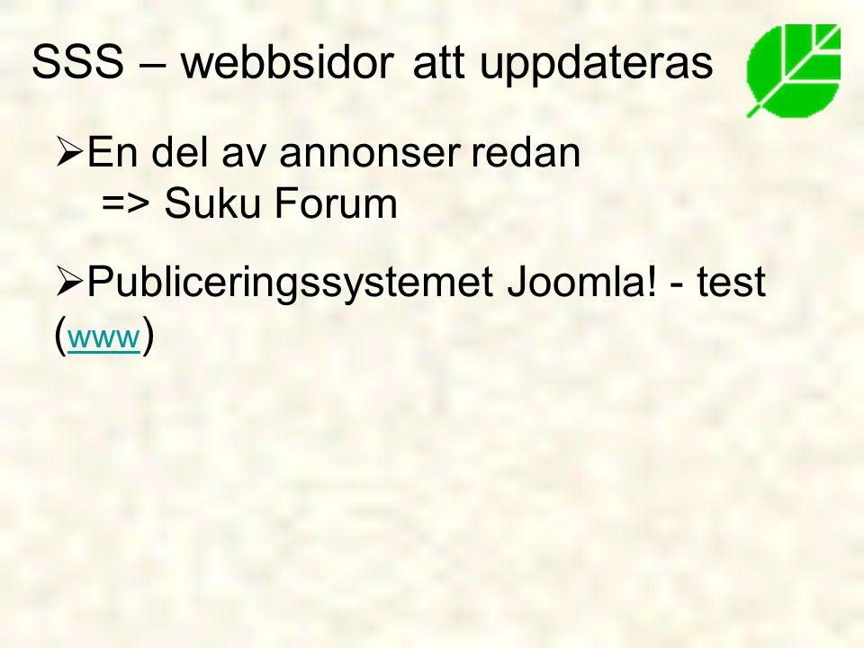 SSS – webbsidor att uppdateras