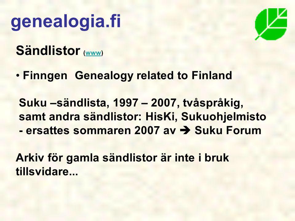 genealogia.fi Sändlistor (www) Finngen Genealogy related to Finland