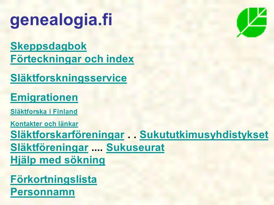 genealogia.fi Skeppsdagbok Förteckningar och index