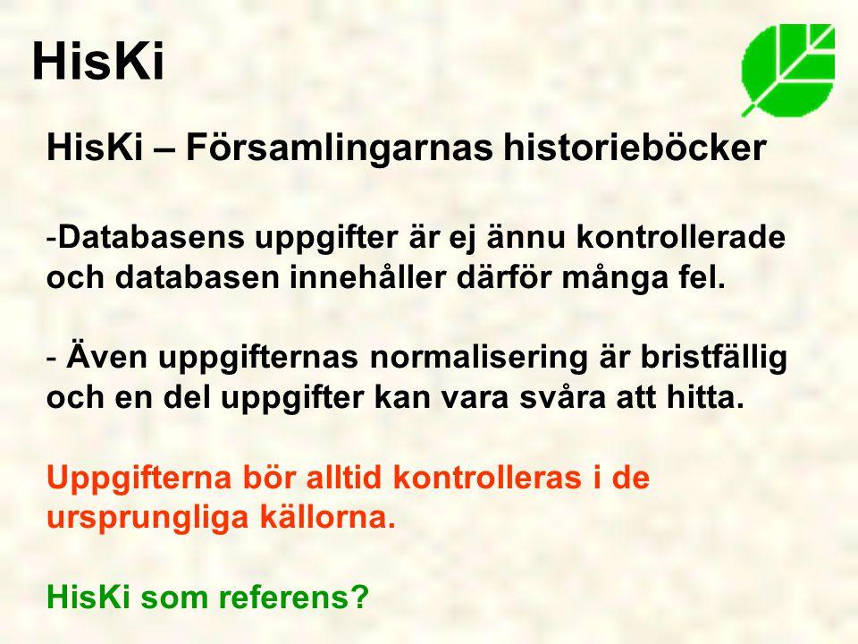 HisKi HisKi – Församlingarnas historieböcker