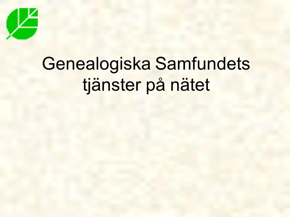 Genealogiska Samfundets tjänster på nätet