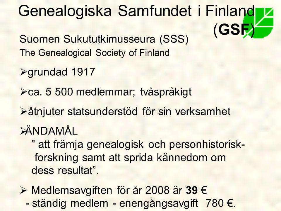 Genealogiska Samfundet i Finland (GSF)
