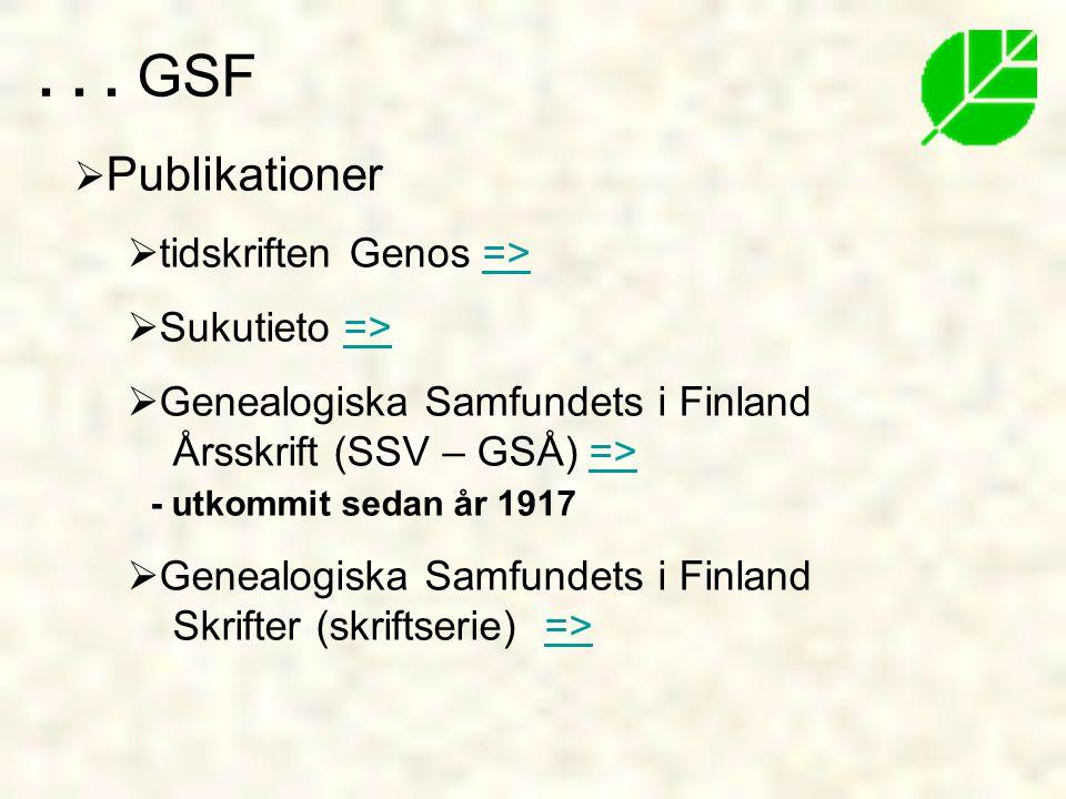 . . . GSF Publikationer tidskriften Genos => Sukutieto =>