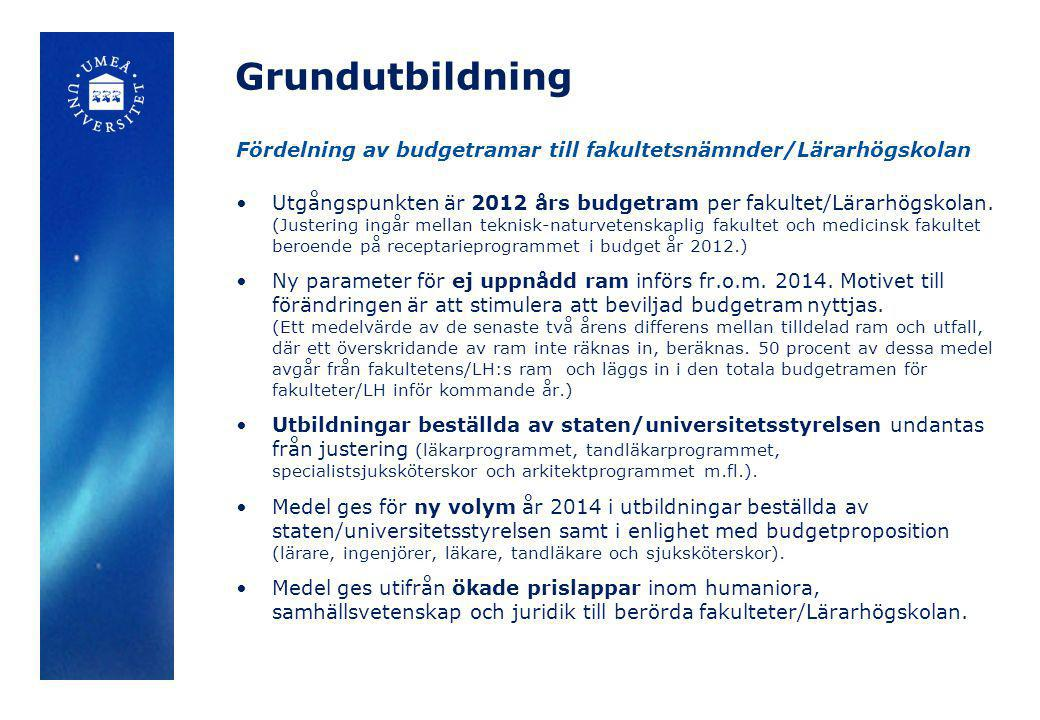 Grundutbildning Fördelning av budgetramar till fakultetsnämnder/Lärarhögskolan.