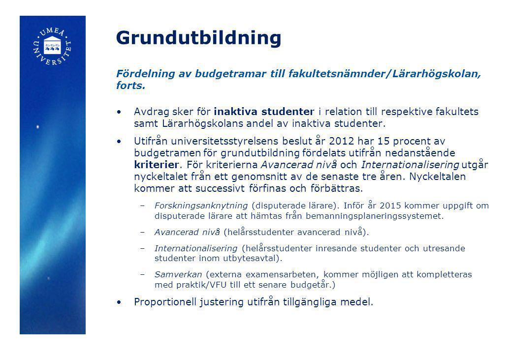 Grundutbildning Fördelning av budgetramar till fakultetsnämnder/Lärarhögskolan, forts.