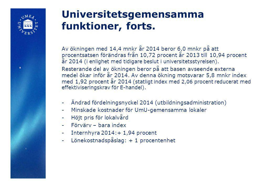 Universitetsgemensamma funktioner, forts.