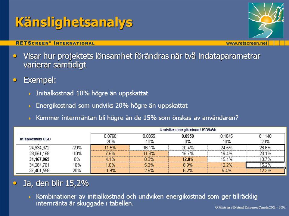 Känslighetsanalys Visar hur projektets lönsamhet förändras när två indataparametrar varierar samtidigt.