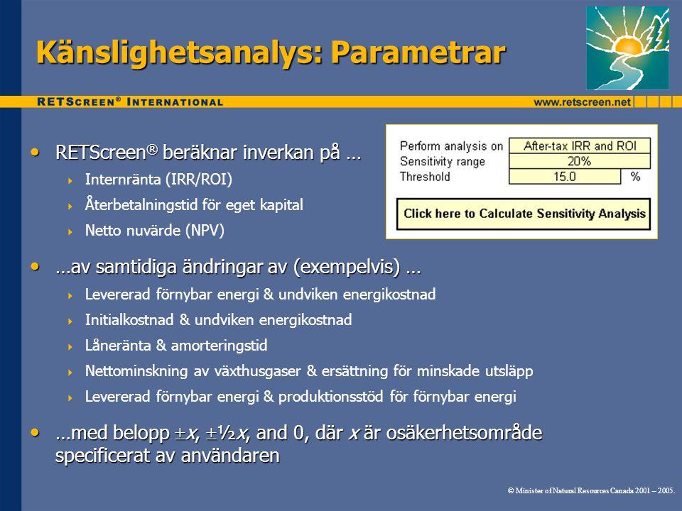 Känslighetsanalys: Parametrar