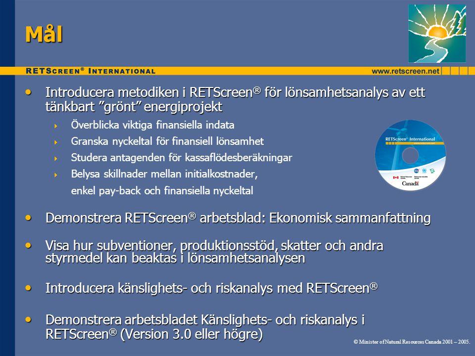 Mål Introducera metodiken i RETScreen® för lönsamhetsanalys av ett tänkbart grönt energiprojekt.