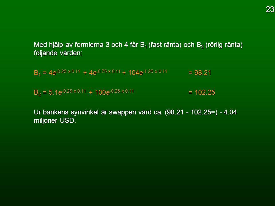 23 Med hjälp av formlerna 3 och 4 får B1 (fast ränta) och B2 (rörlig ränta) följande värden: