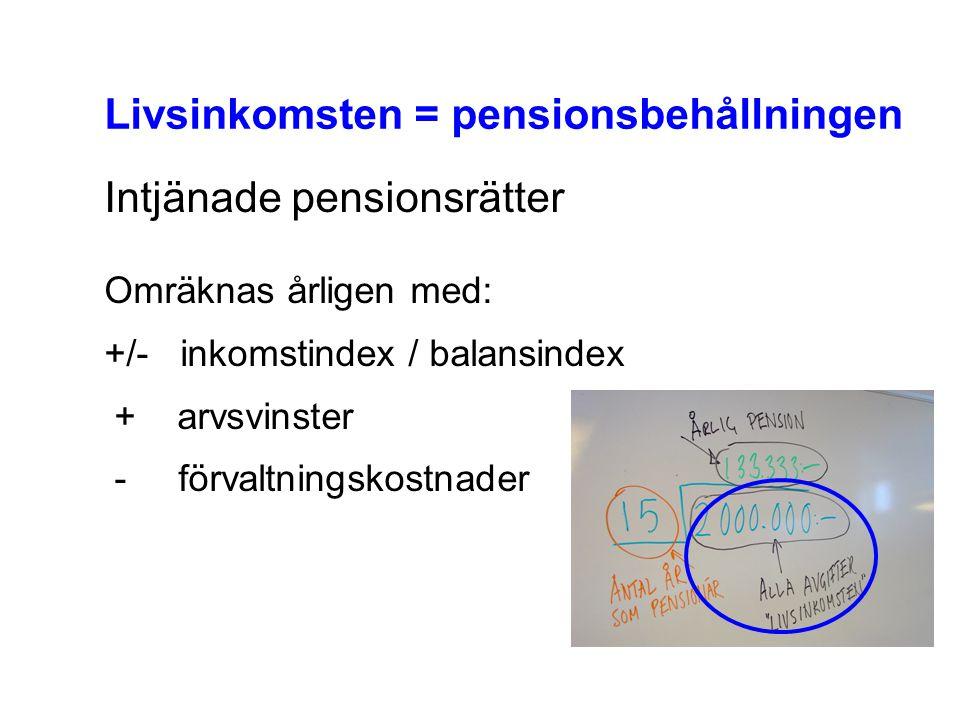 Livsinkomsten = pensionsbehållningen