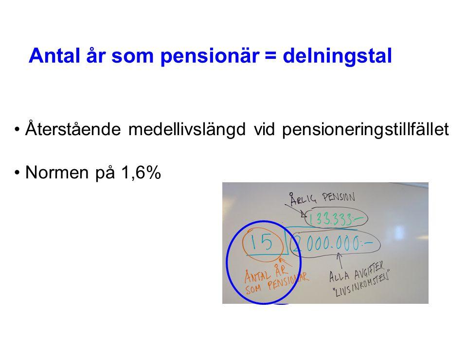 Antal år som pensionär = delningstal