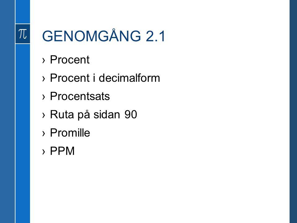 GENOMGÅNG 2.1 Procent Procent i decimalform Procentsats