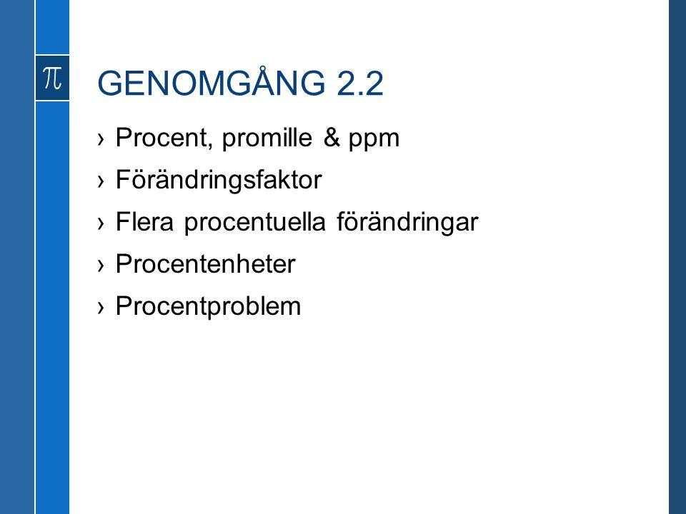 GENOMGÅNG 2.2 Procent, promille & ppm Förändringsfaktor