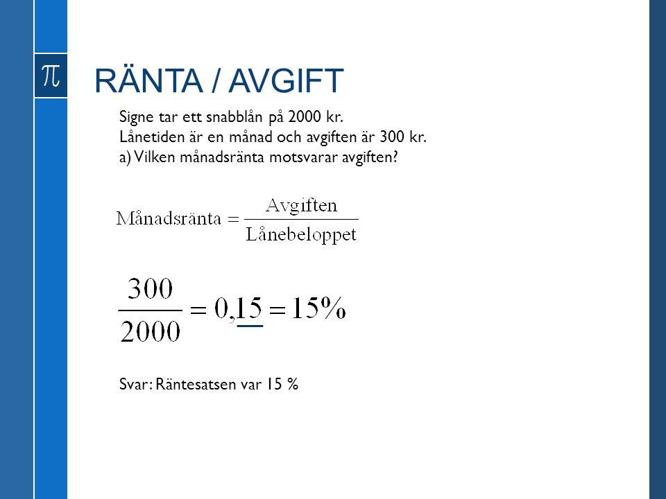 RÄNTA / AVGIFT Signe tar ett snabblån på 2000 kr. Lånetiden är en månad och avgiften är 300 kr. a) Vilken månadsränta motsvarar avgiften