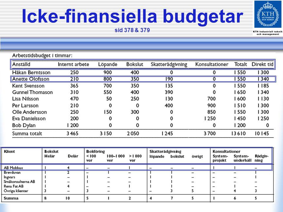 Icke-finansiella budgetar sid 378 & 379