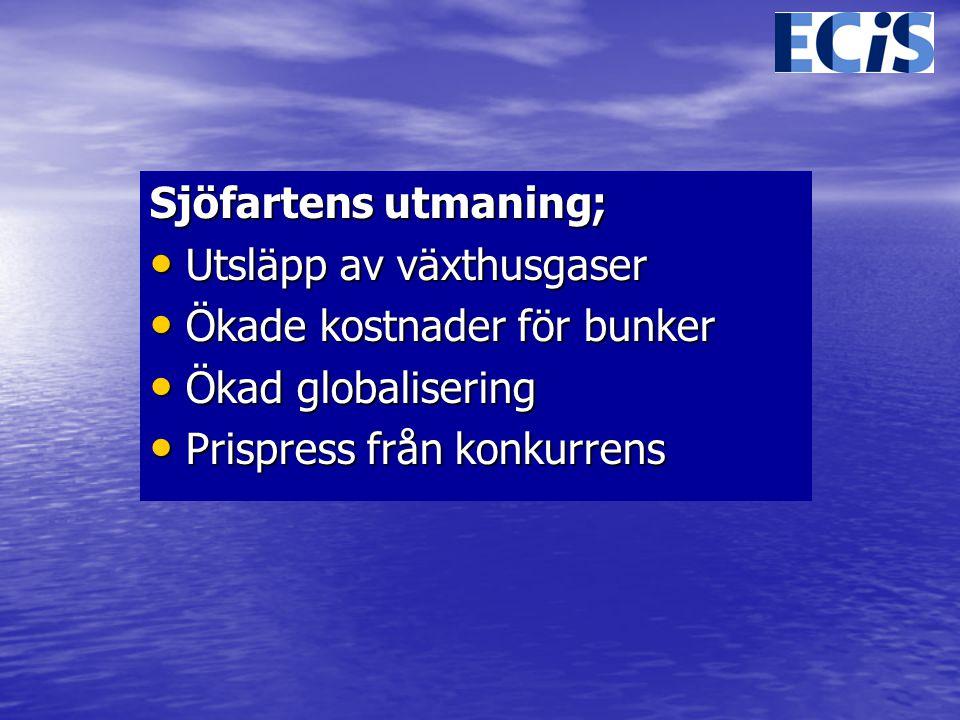 Sjöfartens utmaning; Utsläpp av växthusgaser. Ökade kostnader för bunker.
