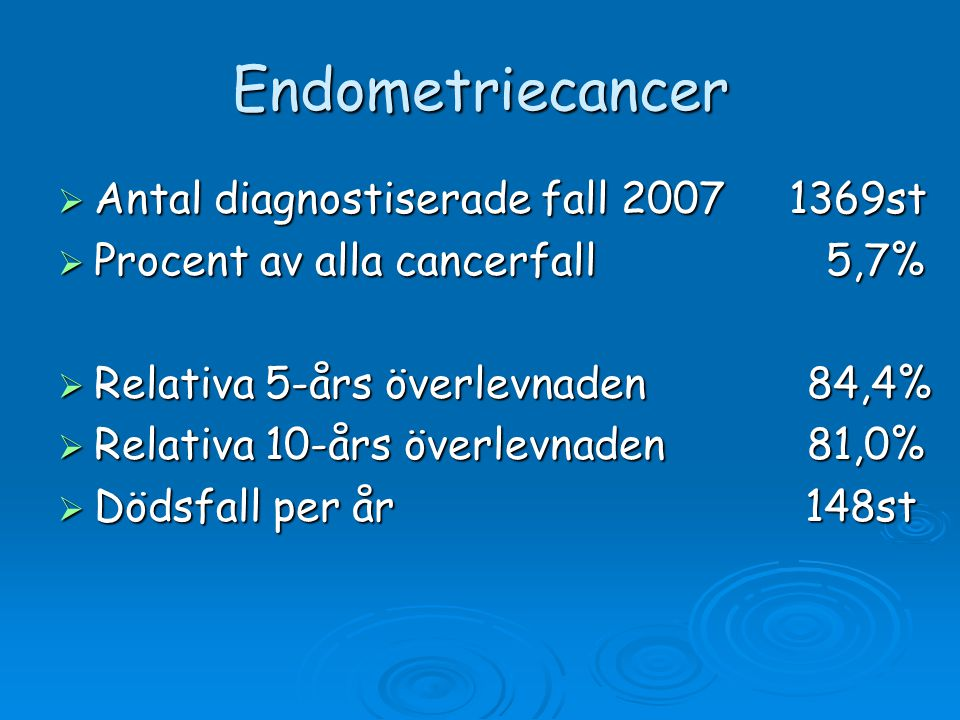 Endometriecancer Antal diagnostiserade fall 2007 1369st