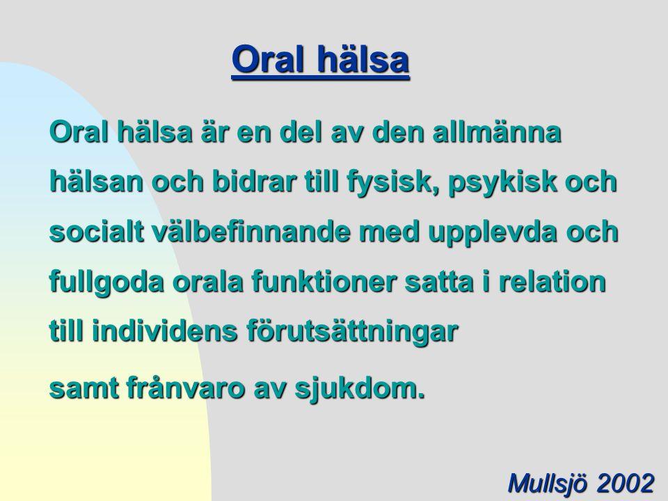 Oral hälsa samt frånvaro av sjukdom.