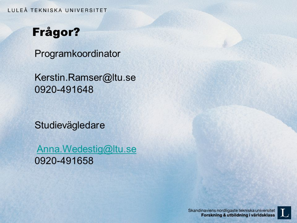 Frågor Programkoordinator Kerstin.Ramser@ltu.se 0920-491648