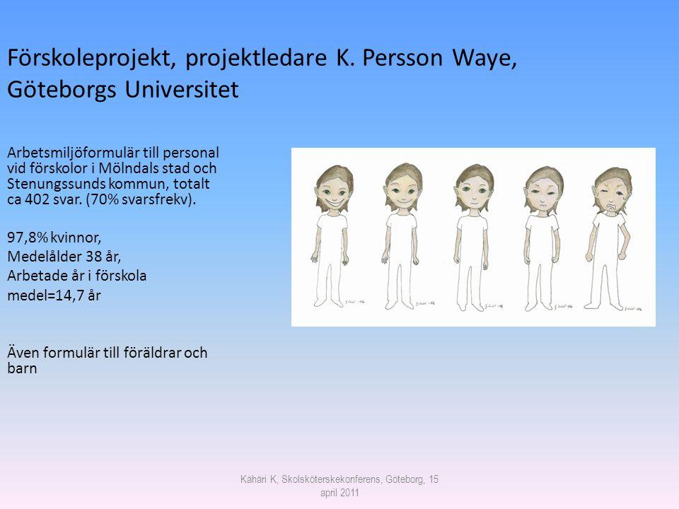 Förskoleprojekt, projektledare K. Persson Waye, Göteborgs Universitet