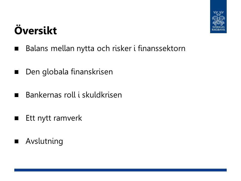 Översikt Balans mellan nytta och risker i finanssektorn