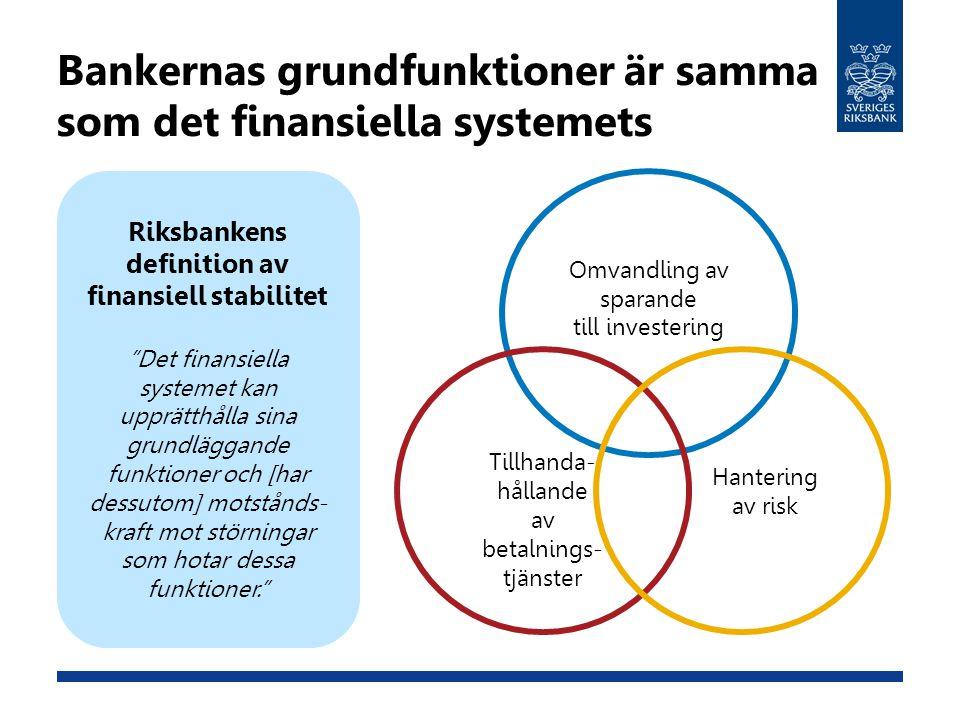 Bankernas grundfunktioner är samma som det finansiella systemets
