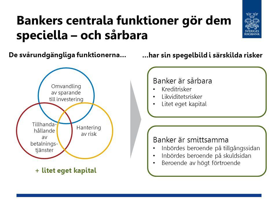Bankers centrala funktioner gör dem speciella – och sårbara