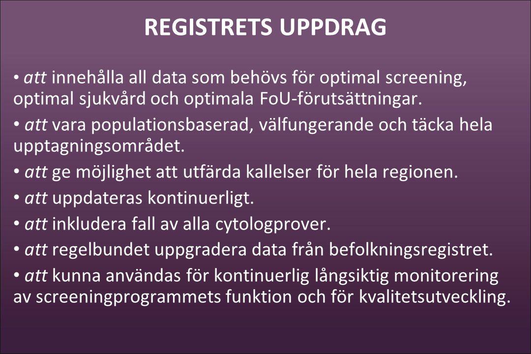 REGISTRETS UPPDRAG att innehålla all data som behövs för optimal screening, optimal sjukvård och optimala FoU-förutsättningar.