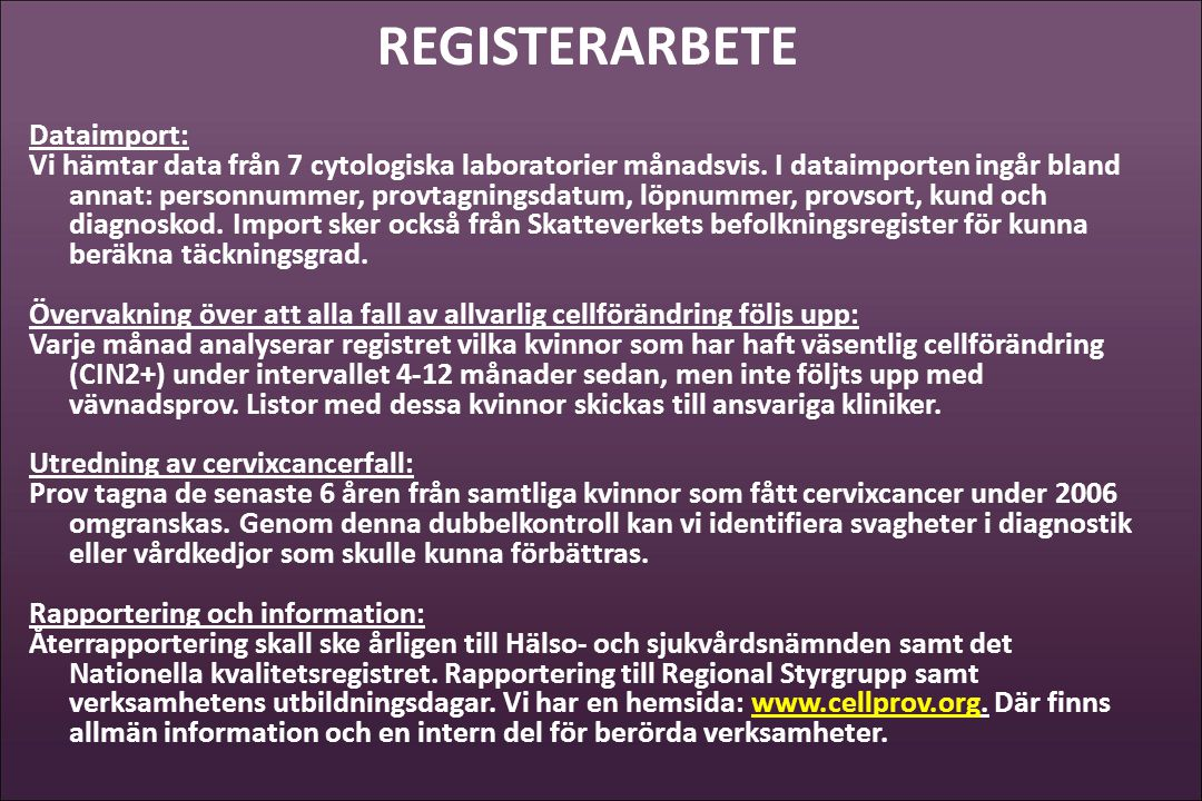 REGISTERARBETE Dataimport: