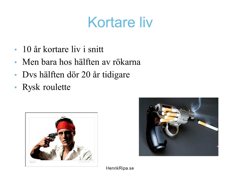 Kortare liv 10 år kortare liv i snitt Men bara hos hälften av rökarna